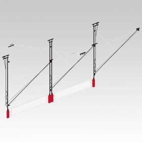 POWR-NET DUAL COURT OVERHEAD SUPPORTED FOLD-UP VOLLEYBALL SYSTEM W/O JUDGE'S STAND
